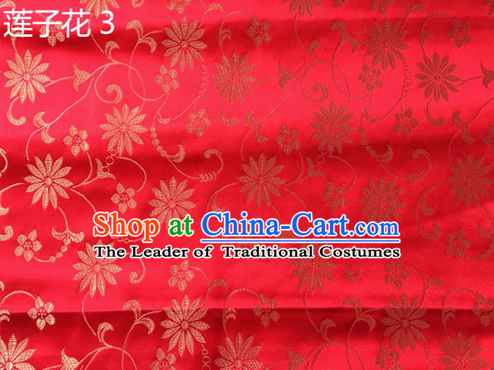 Traditional Asian Chinese Handmade Embroidery Lotus Flowers Silk Satin Tang Suit Red Fabric Drapery, Nanjing Brocade Ancient Costume Hanfu Cheongsam Cloth Material