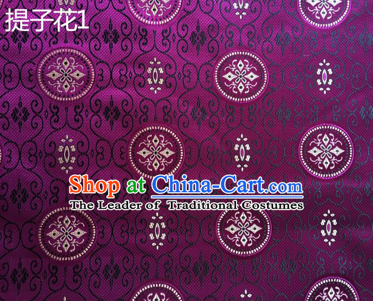 Traditional Asian Chinese Handmade Embroidery Raisins Flowers Silk Satin Tang Suit Purple Fabric Drapery, Nanjing Brocade Ancient Costume Hanfu Cheongsam Cloth Material