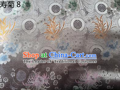 Traditional Asian Chinese Handmade Embroidery Marguerite Flowers Silk Satin Tang Suit Grey Fabric Drapery, Nanjing Brocade Ancient Costume Hanfu Cheongsam Cloth Material