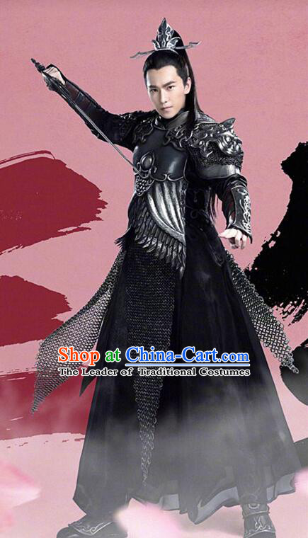 Asian Chinese Traditional Prince Costume and Headpiece Complete Set, Films Once Upon a Time China General Swordsman Armour Clothing