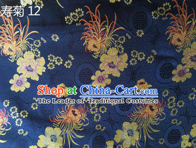 Traditional Asian Chinese Handmade Embroidery Marguerite Flowers Silk Satin Tang Suit Navy Fabric Drapery, Nanjing Brocade Ancient Costume Hanfu Cheongsam Cloth Material