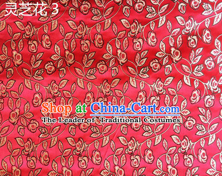 Traditional Asian Chinese Handmade Embroidery Ganoderma Flowers Silk Satin Tang Suit Red Fabric Drapery, Nanjing Brocade Ancient Costume Hanfu Cheongsam Cloth Material