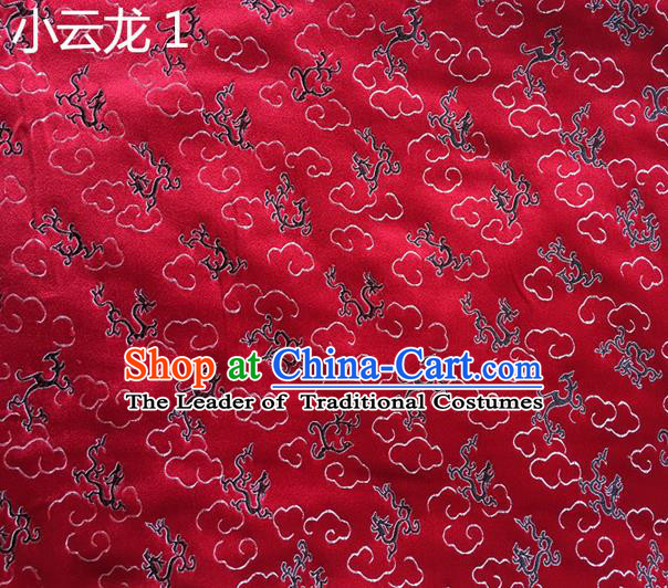 Traditional Asian Chinese Handmade Embroidery Clouds Dragons Silk Satin Tang Suit Red Fabric Drapery, Nanjing Brocade Ancient Costume Hanfu Cheongsam Cloth Material