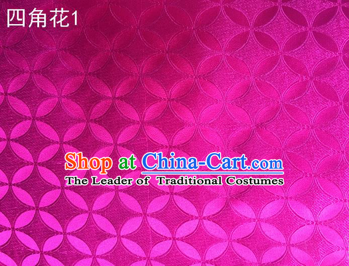 Traditional Asian Chinese Handmade Embroidery Coins Pattern Silk Satin Tang Suit Rosy Fabric Drapery, Nanjing Brocade Ancient Costume Hanfu Cheongsam Cloth Material