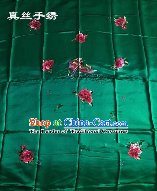 Traditional Asian Chinese Handmade Embroidery Mandarin Ducks Quilt Cover Silk Tapestry Green Fabric Drapery, Top Grade Nanjing Brocade Bed Sheet Cloth Material