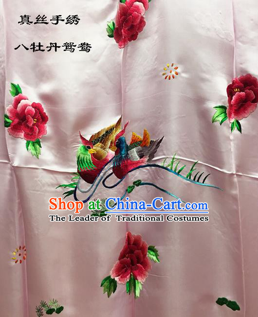 Traditional Asian Chinese Handmade Embroidery Mandarin Ducks Peony Quilt Cover Silk Tapestry Pink Fabric Drapery, Top Grade Nanjing Brocade Bed Sheet Cloth Material