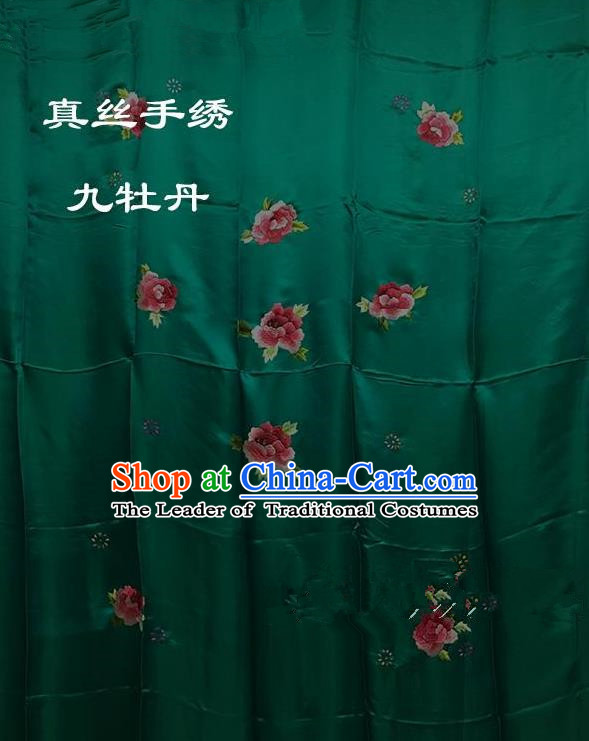Traditional Asian Chinese Handmade Embroidery Ninth Peony Quilt Cover Silk Tapestry Deep Green Fabric Drapery, Top Grade Nanjing Brocade Bed Sheet Cloth Material