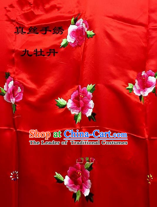 Traditional Asian Chinese Handmade Embroidery Ninth Peony Quilt Cover Silk Tapestry Deep Red Fabric Drapery, Top Grade Nanjing Brocade Bed Sheet Cloth Material