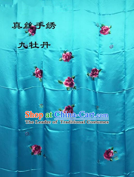 Traditional Asian Chinese Handmade Embroidery Ninth Peony Quilt Cover Silk Tapestry Deep Blue Fabric Drapery, Top Grade Nanjing Brocade Bed Sheet Cloth Material