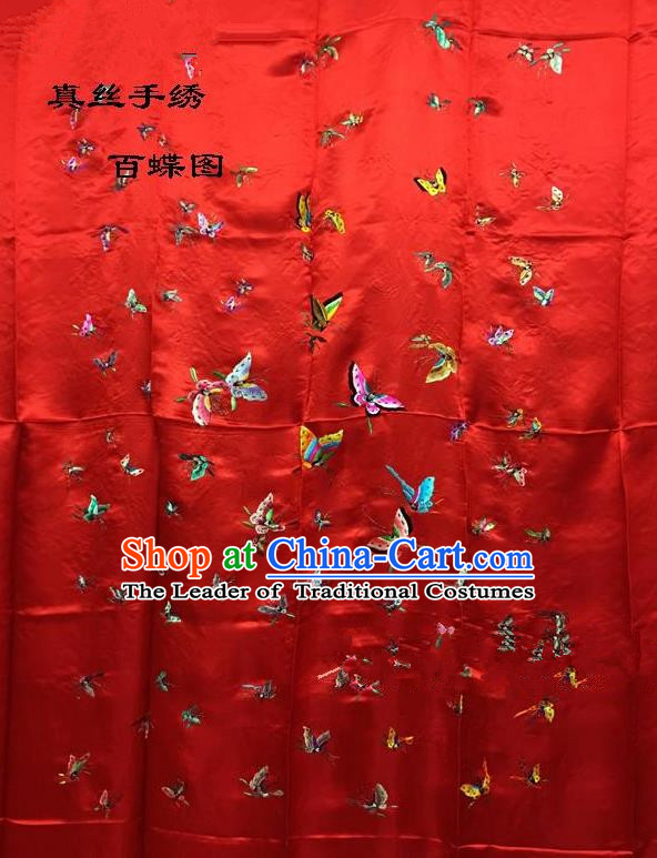 Traditional Asian Chinese Handmade Embroidery Hundred Butterfly Quilt Cover Silk Tapestry Red Fabric Drapery, Top Grade Nanjing Brocade Bed Sheet Cloth Material