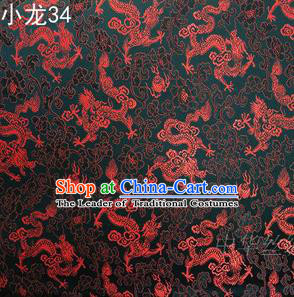 Traditional Asian Chinese Handmade Embroidery Dragons Silk Tapestry Tibetan Clothing Black Fabric Drapery, Top Grade Nanjing Brocade Cheongsam Cloth Material
