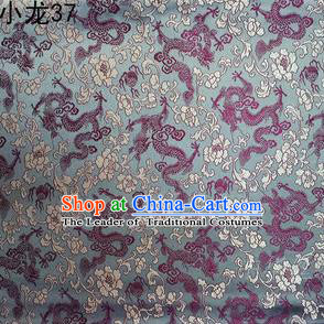 Traditional Asian Chinese Handmade Embroidery Dragons Silk Tapestry Tibetan Clothing Grey Fabric Drapery, Top Grade Nanjing Brocade Cheongsam Cloth Material