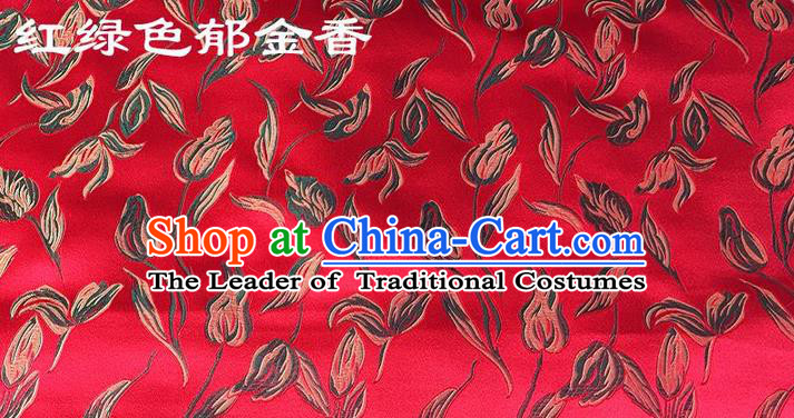 Traditional Asian Chinese Handmade Embroidery Tulip Silk Tapestry Tibetan Clothing Red Fabric Drapery, Top Grade Nanjing Brocade Cheongsam Cloth Material