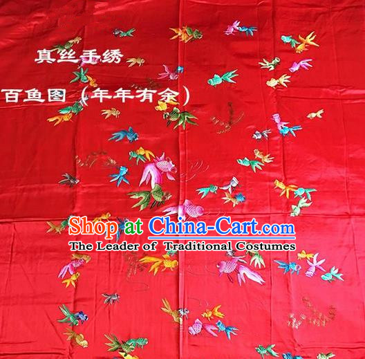 Traditional Asian Chinese Handmade Embroidery Fishes Quilt Cover Silk Tapestry Red Fabric Drapery, Top Grade Nanjing Brocade Bed Sheet Cloth Material