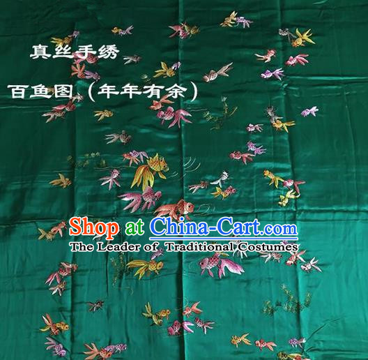 Traditional Asian Chinese Handmade Embroidery Fishes Quilt Cover Silk Tapestry Green Fabric Drapery, Top Grade Nanjing Brocade Bed Sheet Cloth Material