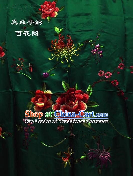 Traditional Asian Chinese Handmade Embroidery Hundred Flowers Quilt Cover Silk Tapestry Deep Green Fabric Drapery, Top Grade Nanjing Brocade Bed Sheet Cloth Material