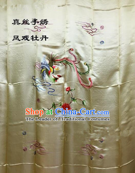 Traditional Asian Chinese Handmade Embroidery Phoenix Peony Quilt Cover Silk Tapestry Golden Fabric Drapery, Top Grade Nanjing Brocade Bed Sheet Cloth Material