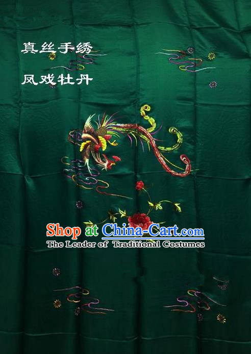 Traditional Asian Chinese Handmade Embroidery Phoenix Peony Quilt Cover Silk Tapestry Deep Green Fabric Drapery, Top Grade Nanjing Brocade Bed Sheet Cloth Material