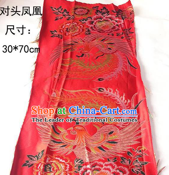 Traditional Asian Chinese Handmade Embroidery Phoenix Silk Tapestry Xiuhe Suit Red Fabric Drapery, Top Grade Nanjing Brocade Cheongsam Cloth Material