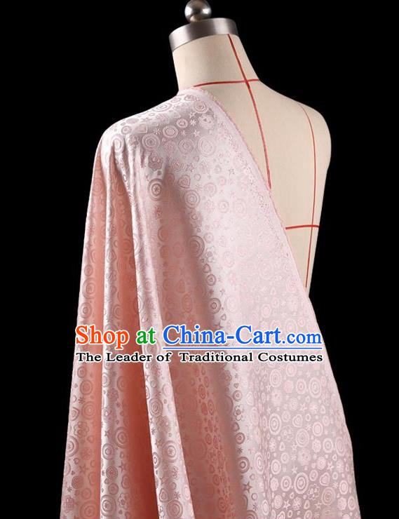 Traditional Asian Chinese Handmade Embroidery Flowers Dress Silk Tapestry Pink Fabric Drapery, Top Grade Nanjing Brocade Ancient Costume Cheongsam Cloth Material