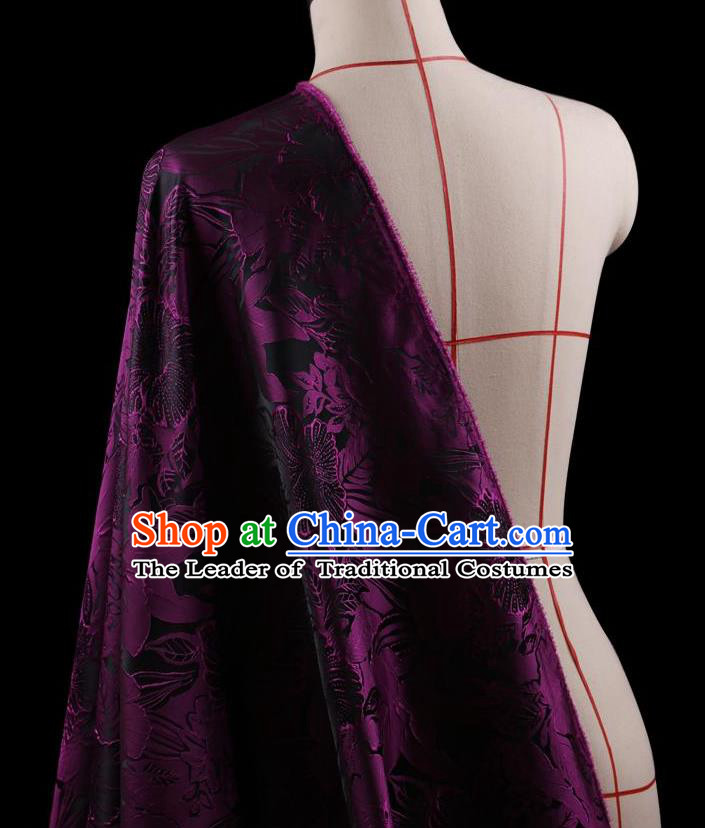 Traditional Asian Chinese Handmade Embroidery Peony Flowers Coat Silk Tapestry Purple Fabric Drapery, Top Grade Nanjing Brocade Ancient Costume Cheongsam Cloth Material