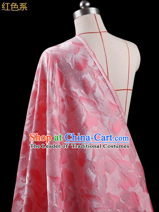 Traditional Asian Chinese Handmade Embroidery Leaf Jacquard Weave Coat Silk Tapestry Pink Fabric Drapery, Top Grade Nanjing Brocade Ancient Costume Cheongsam Cloth Material