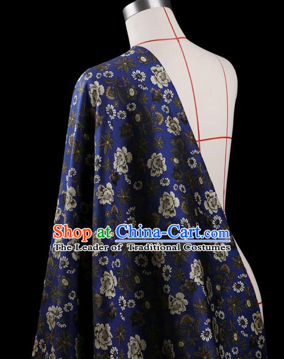 Traditional Asian Chinese Handmade Embroidery Flower Jacquard Weave Coat Silk Tapestry Blue Fabric Drapery, Top Grade Nanjing Brocade Ancient Costume Cheongsam Cloth Material