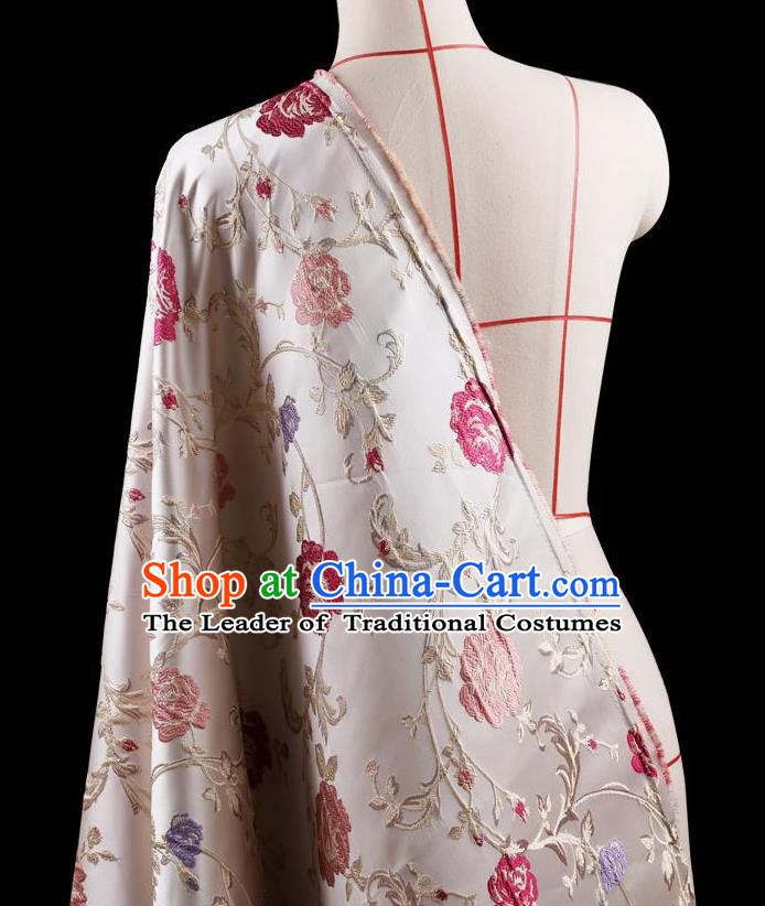 Traditional Asian Chinese Handmade Embroidery Flower Jacquard Weave Coat Silk Tapestry White Fabric Drapery, Top Grade Nanjing Brocade Ancient Costume Cheongsam Cloth Material