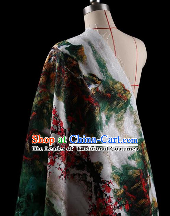 07c030790f0 Traditional Asian Chinese Handmade Printing Landscape Dress Silk Satin  Fabric Drapery