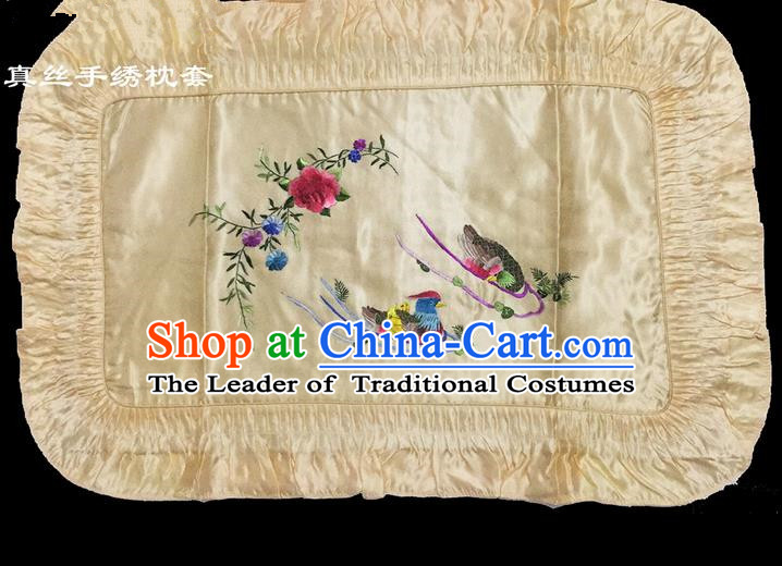 Traditional Asian Chinese Handmade Embroidery Mandarin Duck Silk Yellow Pillowslip, Top Grade Nanjing Brocade Pillow Cover