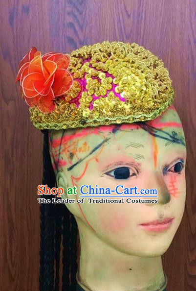 Traditional Chinese Uyghur Nationality Dance Red Hat, Folk Dance Ethnic Chinese Minority Nationality Uigurian Dance Headwear for Women