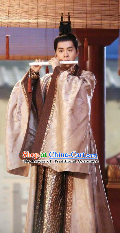 Asian Chinese Traditional Prince Costume and Headpiece Complete Set, Lost Love In Times China Ancient Northern and Southern Dynasties Nobility Childe Robe Clothing for Men