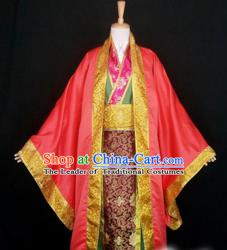 Asian Chinese Traditional Cospaly Han Dynasty Royal King Wedding Costume, China Elegant Hanfu Nobility Childe Red Robe Clothing for Men