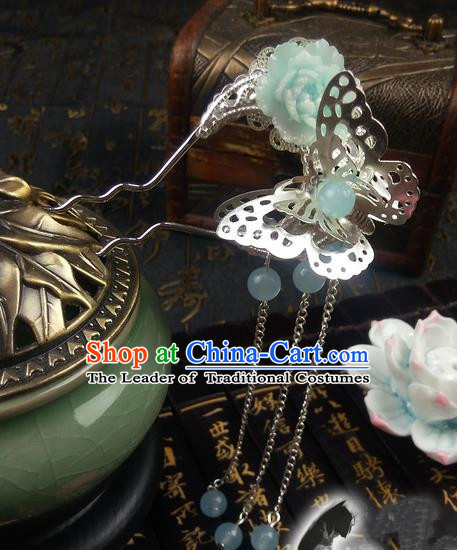 Traditional Handmade Chinese Ancient Classical Hair Accessories, Princess Butterfly Green Flower Step Shake Hair Sticks, Hair Fascinators Hairpins for Women