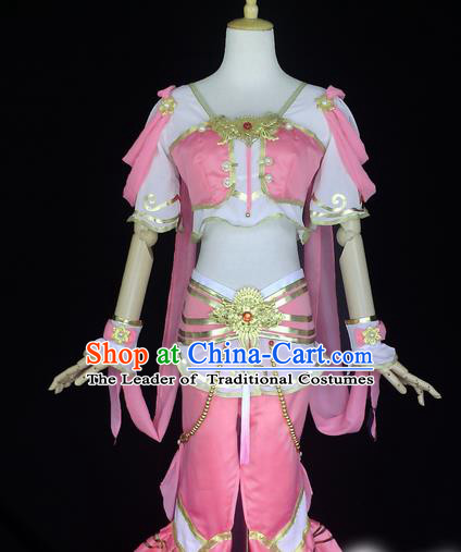 Asian Chinese Traditional Cospaly Tang Dynasty Palace Lady Dance Costume, China Elegant Hanfu Flying Dance Dress Clothing for Women