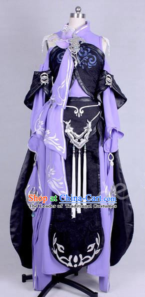 Asian Chinese Traditional Cospaly Costume Customization Kawaler Costume, China Elegant Hanfu Swordsman Purple Dress Clothing for Women