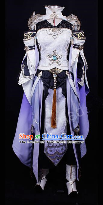 Asian Chinese Traditional Cospaly Costume Customization Female General Costume, China Elegant Hanfu Purple Dress Clothing for Women
