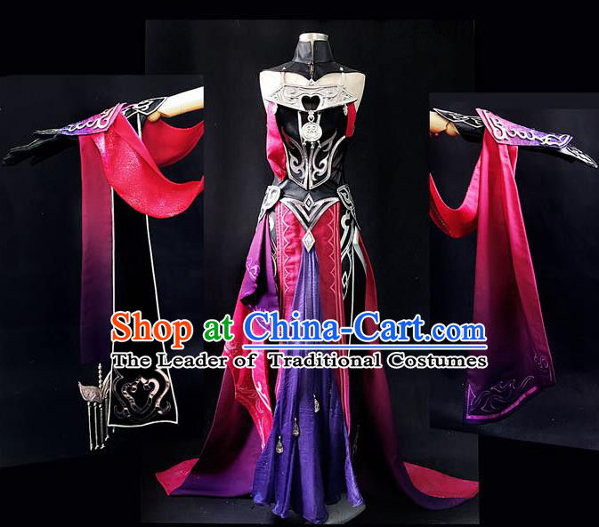 Asian Chinese Traditional Cospaly Costume Customization Swordswoman Costume, China Elegant Hanfu Peri Red Dress Clothing for Women