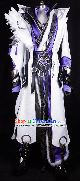 Asian Chinese Traditional Cospaly Costume Customization Ancient Kawaler Prince Costume Complete Set, China Elegant Hanfu Swordsman Clothing for Men