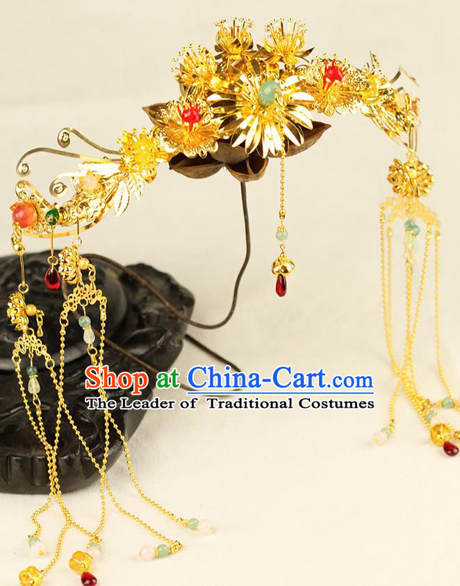 Chinese Ancient Style Hair Jewelry Accessories Wedding Phoenix Coronet Complete Set, Hanfu Xiuhe Suits Step Shake Bride Handmade Hairpins for Women