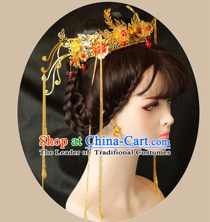 Chinese Ancient Style Hair Jewelry Accessories Wedding Hairpins, Hanfu Xiuhe Suits Bride Imperial Empress Handmade Phoenix Coronet Complete Set for Women
