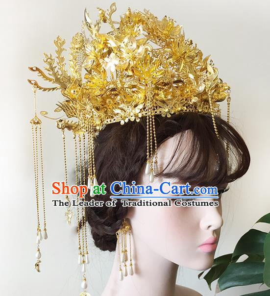 Chinese Ancient Style Hair Jewelry Accessories Wedding White Pearls Tassel Hairpins, Hanfu Xiuhe Suits Step Shake Bride Handmade Phoenix Coronet Hair Fascinators for Women