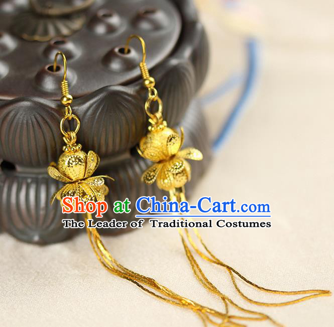 Chinese Ancient Style Hair Jewelry Accessories Wedding Golden Lotus Earrings, Hanfu Xiuhe Suits Bride Handmade Eardrop for Women
