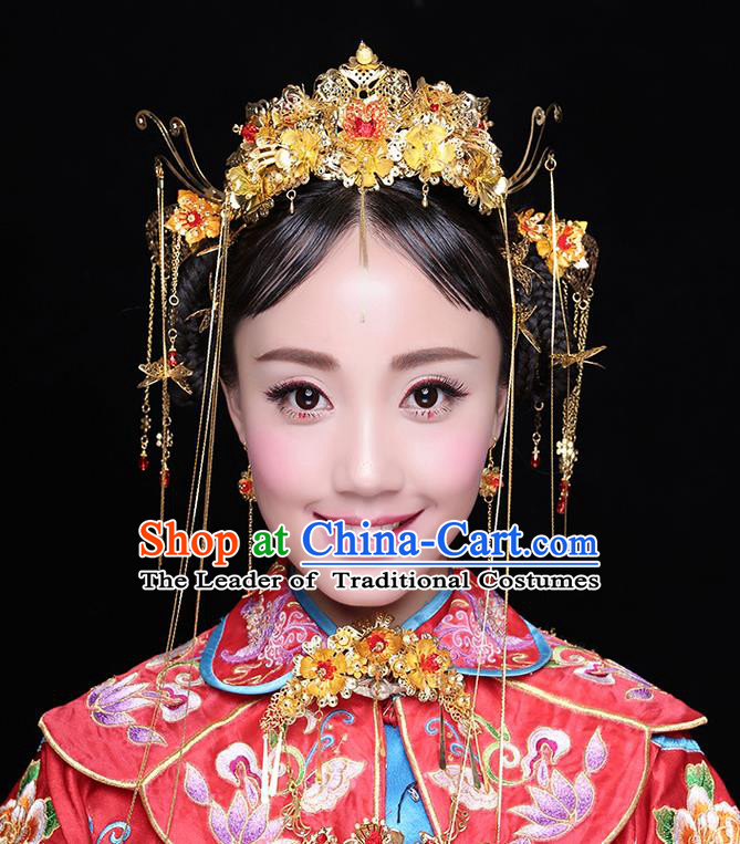 Asian Chinese Ancient Style Hair Jewelry Accessories Wedding Tassel Golden Phoenix Coronet, Step Shake Hanfu Xiuhe Suits Bride Handmade Hairpins Complete Set for Women
