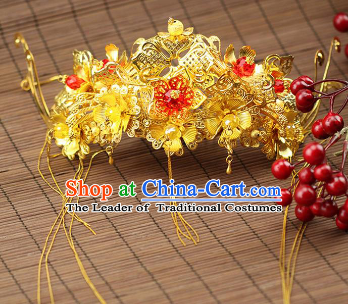 Asian Chinese Ancient Style Hair Jewelry Accessories Wedding Tassel Hairpin, Step Shake Hanfu Xiuhe Suits Bride Handmade Phoenix Crown for Women