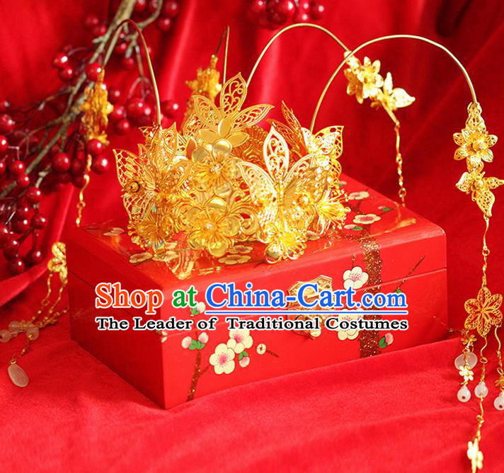 Asian Chinese Ancient Style Hair Jewelry Accessories Wedding Tassel Golden Step Shake , Hanfu Xiuhe Suits Bride Handmade Phoenix Coronet for Women