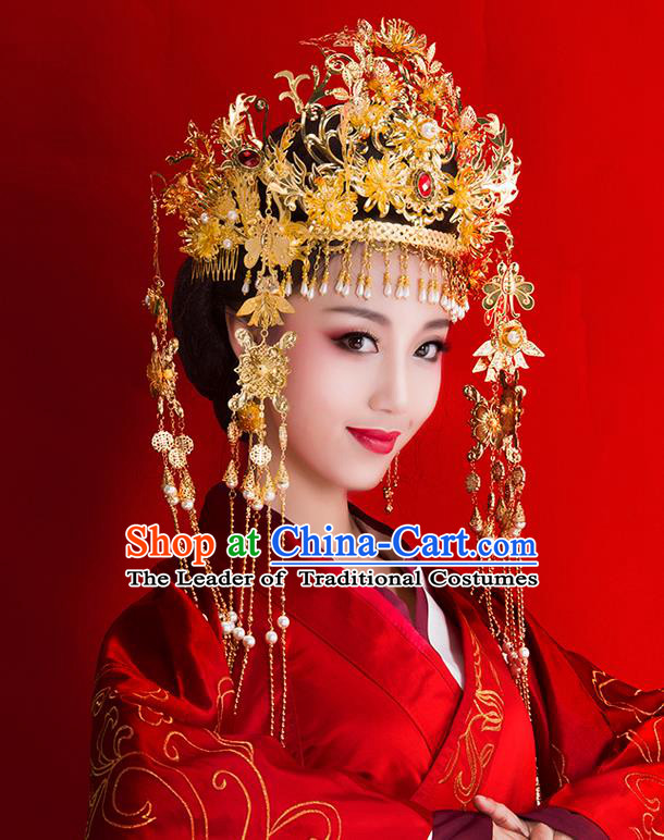 Chinese Ancient Style Hair Jewelry Accessories Wedding Luxury Tassel Hairpins, Hanfu Xiuhe Suits Step Shake Bride Tuinga Handmade Phoenix Coronet Complete Set for Women