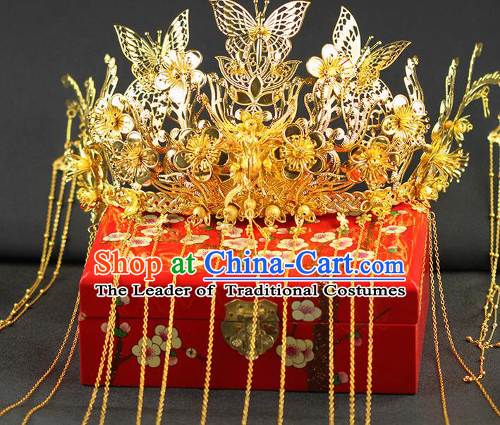 Chinese Ancient Style Hair Jewelry Accessories Wedding Luxury Tassel Hairpins, Hanfu Xiuhe Suits Step Shake Bride Tuinga Handmade Phoenix Coronet for Women