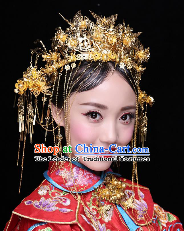 Chinese Ancient Style Hair Jewelry Accessories Wedding Luxury Tassel Hairpins, Hanfu Xiuhe Suits Step Shake Bride Tuinga Handmade Butterfly Phoenix Coronet for Women