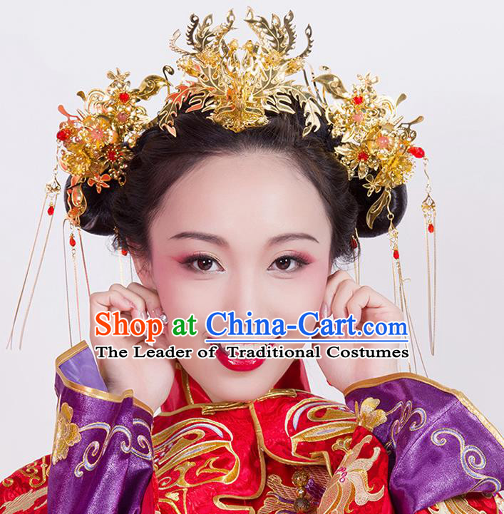 Chinese Ancient Style Hair Jewelry Accessories Wedding Tassel Hair Stick Phoenix Coronet, Hanfu Xiuhe Suits Bride Handmade Hairpins Complete Set for Women